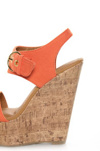 My Delicious Walro Burnt Orange Cotton Platform Wedge Sandals at Lulus.com!