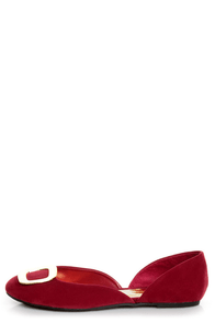 Kierra 2 Red Buckle D'Orsay Flats at Lulus.com!