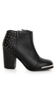 MTNG Fullu Black Studded Ankle Boots at Lulus.com!
