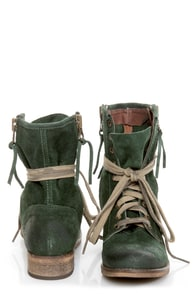 MTNG Hydra 54952 Wax Green Suede Lace-Up Ankle Boots
