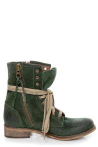 MTNG Hydra 54952 Wax Green Suede Lace-Up Ankle Boots at Lulus.com!