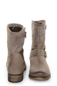 MTNG Hydra Wax Grey Suede Perforated Ankle Boots at Lulus.com!