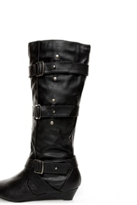 Madden Girl Ilstrate Black Belted Sliver Wedge Boots at Lulus.com!