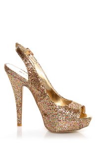 Madden Girl Jassperr Gold Multi Glitter Peep Toe Party Pumps at Lulus.com!
