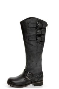 Madden Girl Lundunn Black Paris Belted Riding Boots