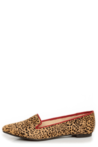 Mia Bardot Leopard Print Pony Fur Pointed Smoking Slipper Flats