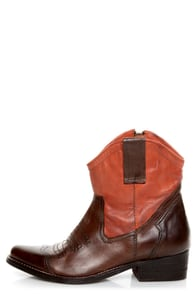 Mia Richwood Brown and Orange Two-Tone Leather Cowboy Boots at Lulus.com!