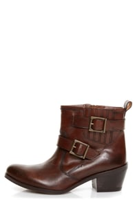 Mia Roam Cognac Brown Leather Motorcycle Ankle Boots