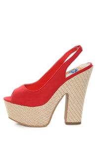 Machi Anita Red Slingback Platform Heels