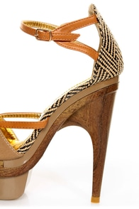 Mona Mia Mayo Taupe Tribal Patterned Sculpted Platform Heels at Lulus.com!