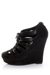 Mona Mia Hedy Black Glitter Lace-Up Cutout Wedge Booties