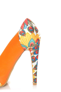 Mona Mia Leocadia Orange & Peacock Print Peep Toe Pumps at Lulus.com!