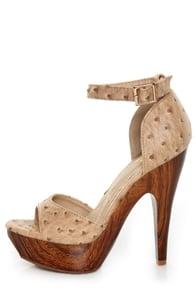 Mona Mia Trinidad Beige Ostrich Platform Heels