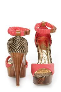 Mona Mia Trinidad Coral, Black & Tan Woven Platform Heels at Lulus.com!