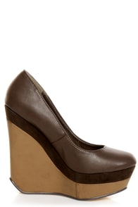 Michael Antonio Agnes Dark Brown Double Platform Wedges at Lulus.com!