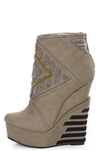 Michael Antonio Studio Cass Taupe Beaded Triple Wedge Booties