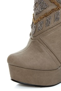 Michael Antonio Studio Cass Taupe Beaded Triple Wedge Booties at Lulus.com!