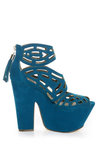 Michael Antonio Studio Gallista Blue Velvet Cutout Platforms at Lulus.com!