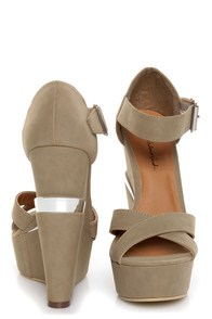 Michael Antonio Studio George Taupe Platform Wedges at Lulus.com!