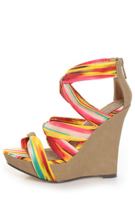 Michael Antonio Gheza Yellow Multi Print Strappy Wedges