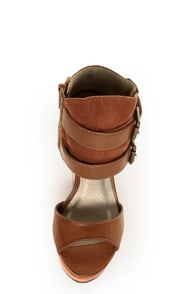 Michael Antonio Guava Cognac Belted Ankle Cuff Wedges at Lulus.com!