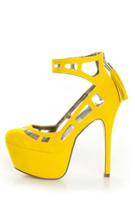 Michael Antonio Studio Lavonne Yellow Velvet Cutout Pumps