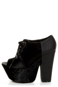 Michael Antonio Studio Medford Black Pony Fur Lace-Up Platforms