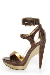 Michael Antonio Tarain Bronze Metallic Double Platform Heels at Lulus.com!