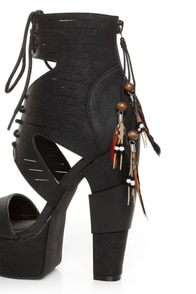 Michael Antonio Studio Thayer Black Tail Feather Lace-Up Heels at Lulus.com!