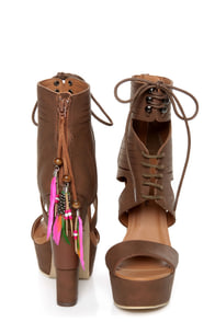 Michael Antonio Studio Thayer Cognac Tail Feather Lace-Up Heels at Lulus.com!