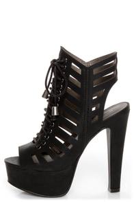 Michael Antonio Tiber Black Cutout Lace-Up Platform Booties