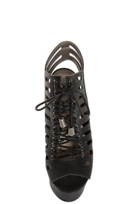 Michael Antonio Tiber Black Cutout Lace-Up Platform Booties at Lulus.com!