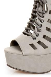 Michael Antonio Tiber Light Grey Cutout Lace-Up Platform Booties