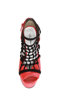 Michael Antonio Studio Townsend-Rep Red Metallic Cage Heels at Lulus.com!