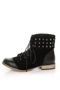 Mixx Cody 05 Black Studded Cuff Lace-Up Ankle Booties