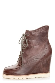 Matiko Cooper Brown Leather Lace-Up Wedge Sneakers