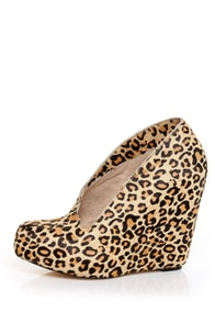 Matiko Jovanna Leopard Pony Fur Side Part Hidden Wedges