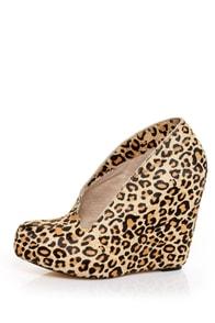 Matiko Jovanna Leopard Pony Fur Side Part Hidden Wedges
