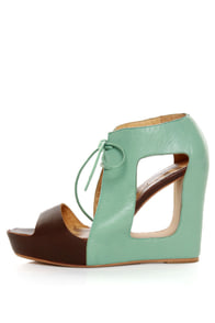 Matiko Paris Light Blue & Brown Lace-Up Cutout Wedges