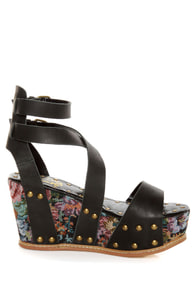 N.Y.L.A. Elayne Black Tapestry & Studs Platform Wedges at Lulus.com!