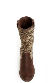 N.Y.L.A. Kylah Brown Tapestry Mid Calf Boots at Lulus.com!