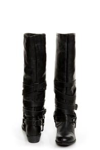 Naughty Monkey Desperado Black Belted Motorcycle Boots at Lulus.com!