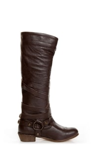 Naughty Monkey Desperado Chocolate Brown Belted Motorcycle Boots at Lulus.com!
