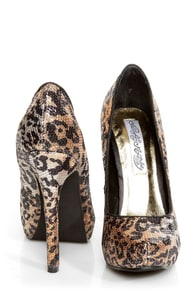 Naughty Monkey Glistening Tan Leopard Print Sequin High Heels at Lulus.com!