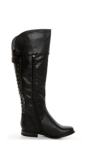 Not Rated Battlefront Black Snap Button-Studded OTK Riding Boots at Lulus.com!