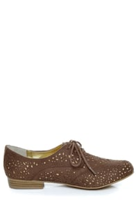 Not Rated Fascination Taupe and Gold Eyelet Oxfords at Lulus.com!