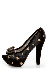 Naughty Monkey Isla Bonita Black Star Pony Fur Platform Heels