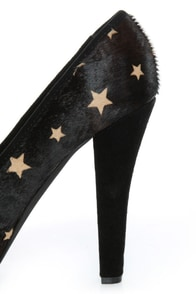Naughty Monkey Isla Bonita Black Star Pony Fur Platform Heels at Lulus.com!