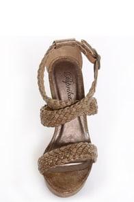 Paprika Suburb Light Tan Crackle Platform Wedge Sandals