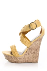 Paprika Suburb Mustard Yellow Unbe-Weave-able Platform Wedges